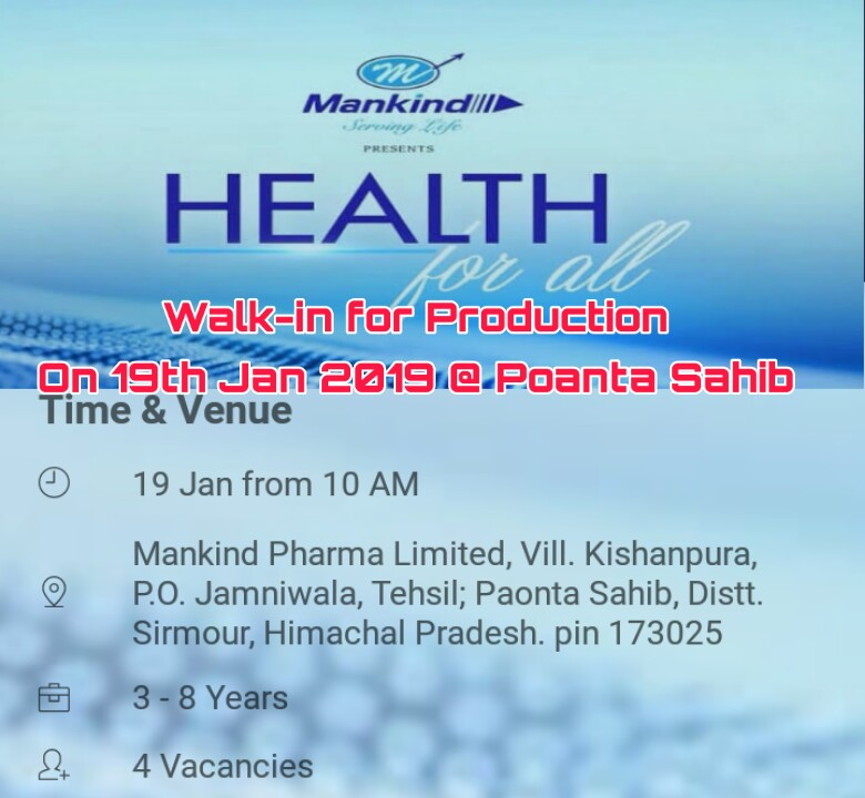 Pharma Job In Paonta Sahib