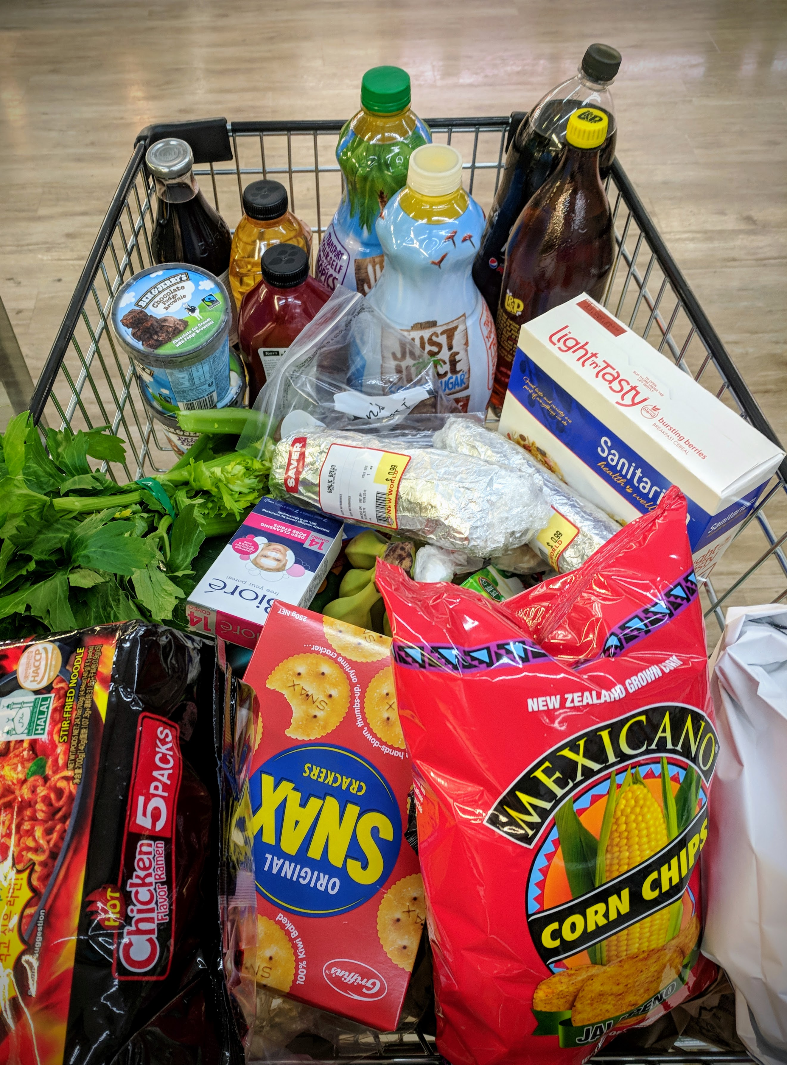 Shopping trolley full with groceries