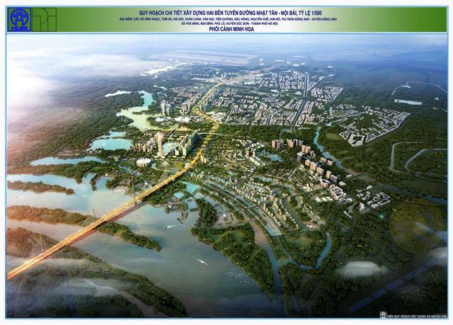 Phối cảnh tổng thể quy hoạch dự án thành phố thông minh hai bên trục đường Nhật Tân - Nội Bài
