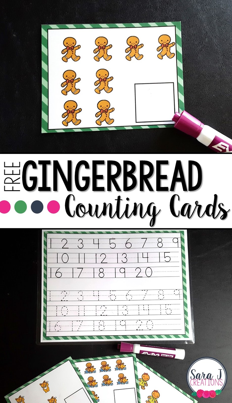 Free gingerbread man counting activities perfect for preschool or kindergarten