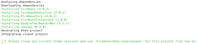 Firebase pods intsllling in terminal