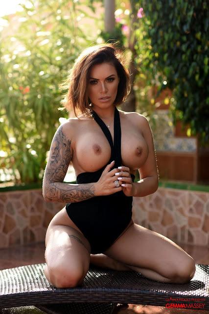 Gemma Massey naked big boobs black bodysuit