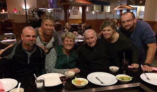 Trevor, Allison, Paula, Tod, Christine, and Lance Eaton at a Japanese restaurant.