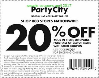 Party City coupons april 2017
