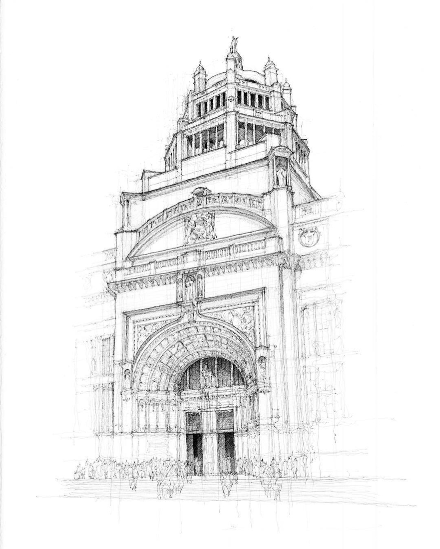 05-The-Victoria-and-Albert-Museum-London-Luke-Adam-Hawker-Architectural-Illustration-of-Imposing-Buildings-www-designstack-co