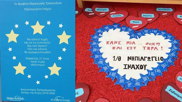 Α΄ βραβείο παραγωγής τραγουδιού στον διαγωνισμό Make a Wish Greece 2020 για το Νηπιαγωγείο Ινάχου