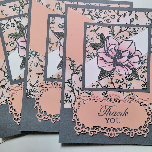 Customer thank you cards using Stampin' Up!'s Magnolia Blooms set - Nicole Steele The Joyful Stamper