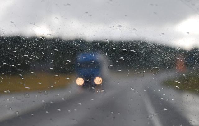 sateinen tie, tie, sade, rain, road, blue