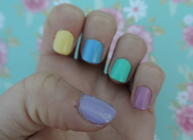 swatch of favourite pastel nail varnish