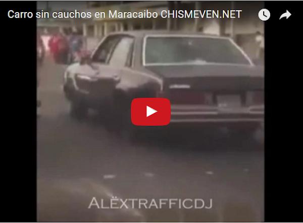 Solo en Maracaibo los carros circulan sin cauchos