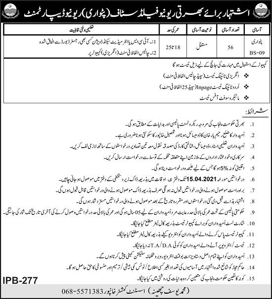 revenue-department-khanpur-jobs-2021-for-patwari