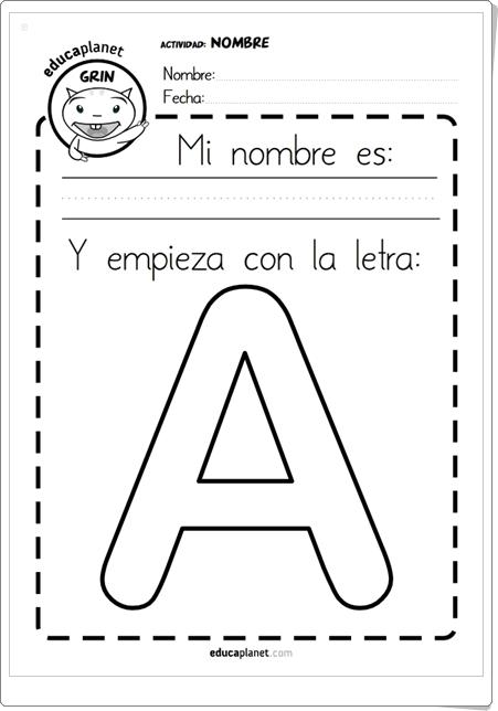 """""""Mi nombre es...Y empieza con la letra..."""" (Cuadernillo de Lectoscritura de Infantil)"""