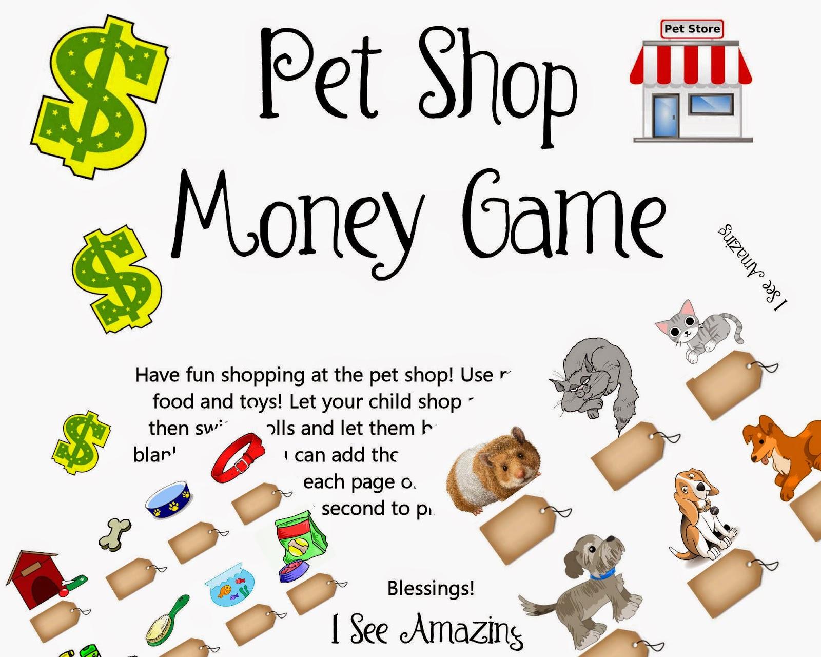 I See Amazing Printable Pet Shop Money Game