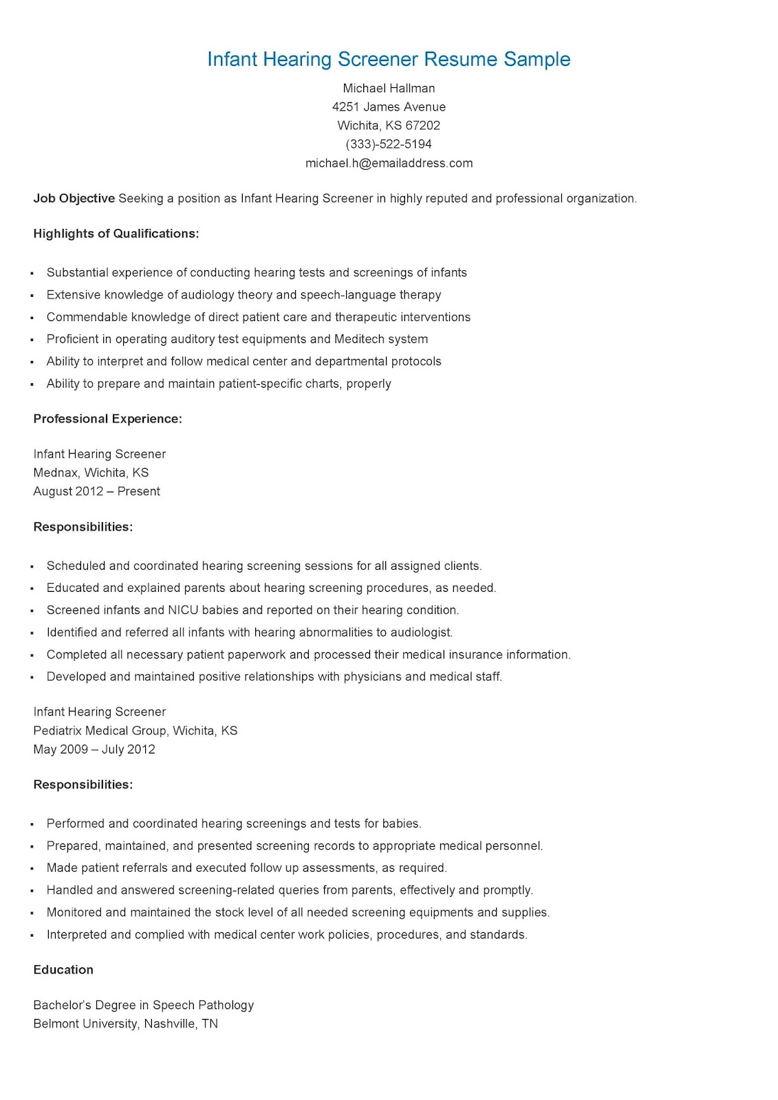 audiologist resume examples s professional resume template premium resume samples example livecareer s professional resume template premium resume samples example livecareer