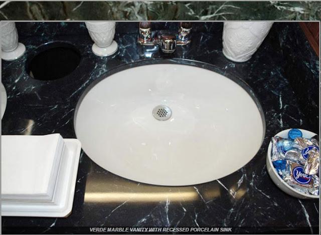 Verde Marble Vanity with Recesssed Porcelain Sink