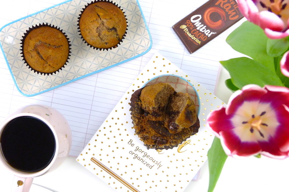 an image of Vegan Banana & Dark Chocolate Chunk Muffins // Gluten & Dairy Free