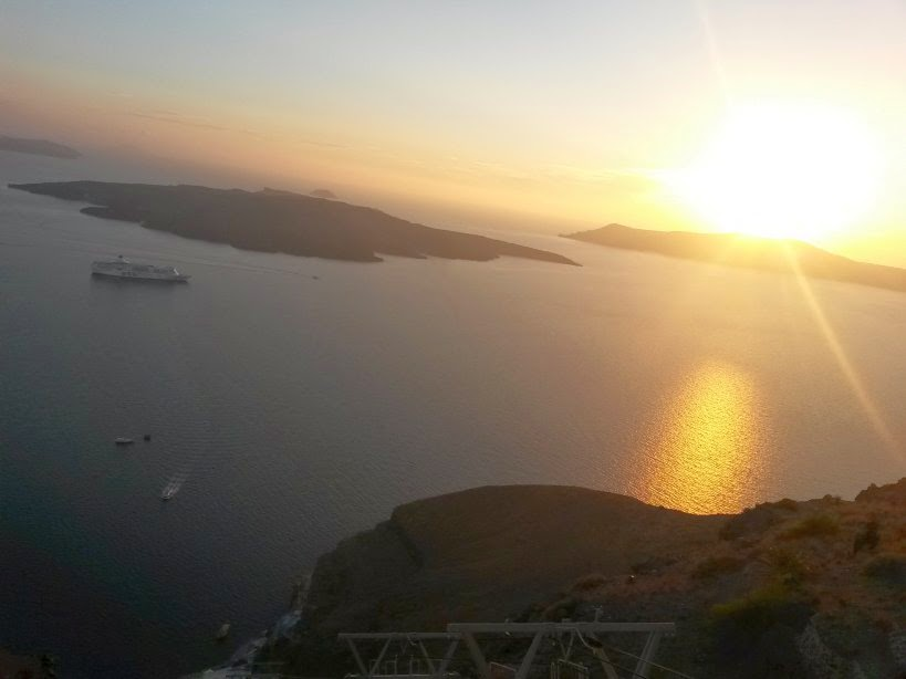 Sunset in Santorini from Fira
