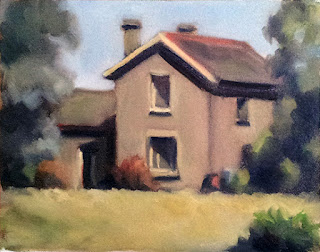 Oil painting of a double-storey building with gabled roof bordered by trees.