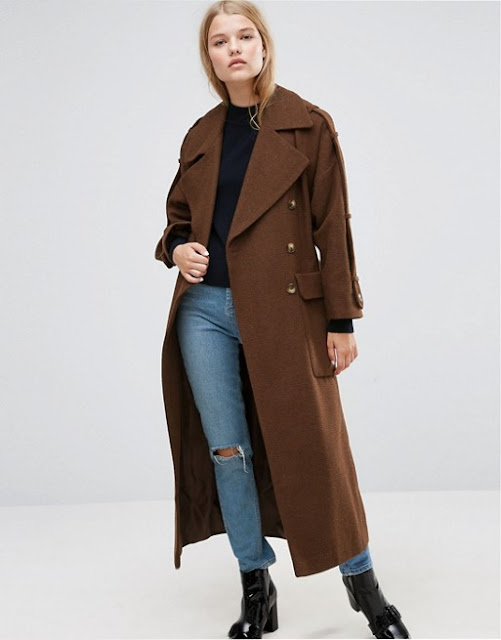 asos military women coat, womens military coat, long military coat,