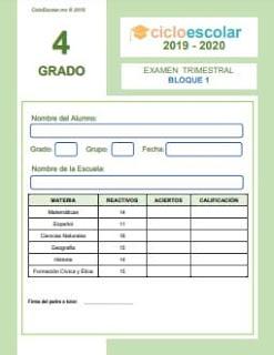 Examen Trimestral Cuarto grado 2019-2020