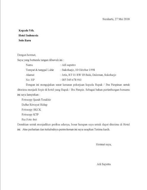 Contoh surat lamaran kerja bagian sopir