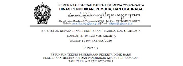 Jadwal Pendaftaran, Zonasi dan Juknis PPDB SMA SMK Provinsi Daerah Istimewa Yogyakarta (DIY) Tahun Pelajaran 2020/2021