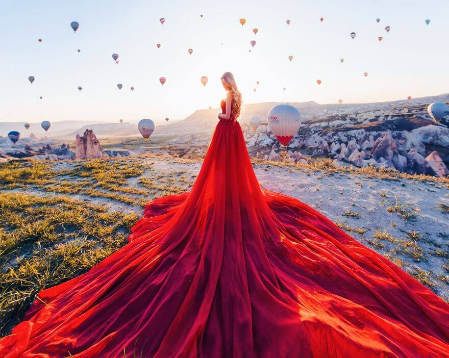 15 Pictures Of Girls In Dresses That Beautifully Match Their Backgrounds - Cappadocia, Turkey. Model Maria