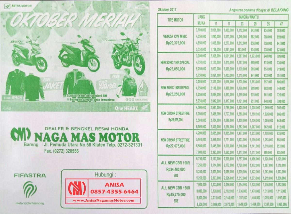 BROSUR KREDIT MOTOR HONDA Oktober November 2017 Naga Mas Motor Klaten