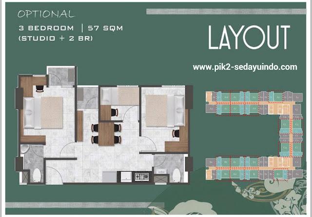 Tokyo Riverside Apartment PIK 2 Tipe 3 BR 57 m2