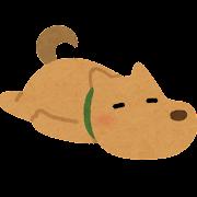 ごろごろする犬のイラスト