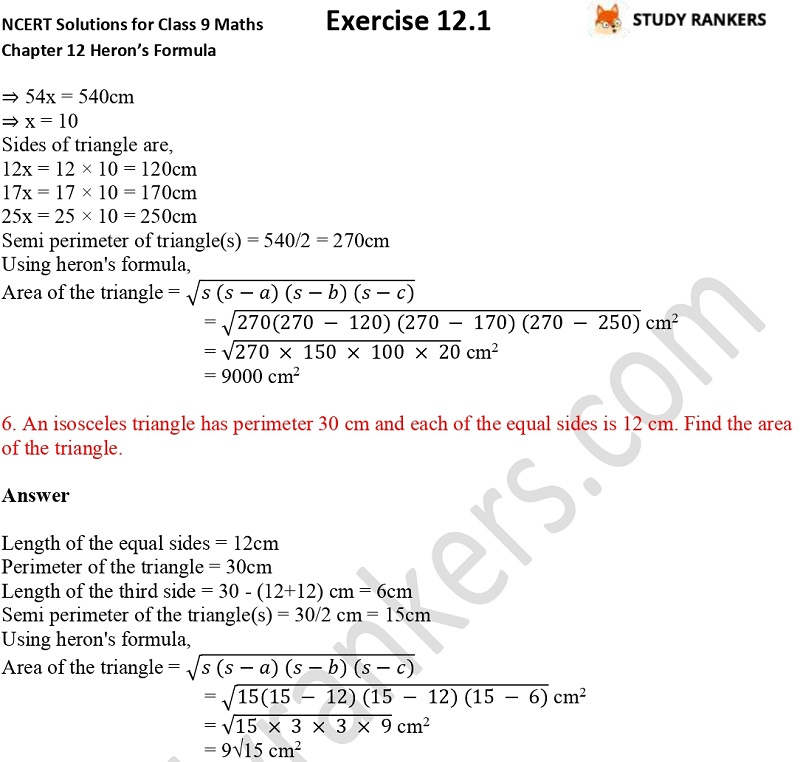 NCERT Solutions for Class 9 Maths Chapter 12 Heron's Formula Exercise 12.1 Part 3