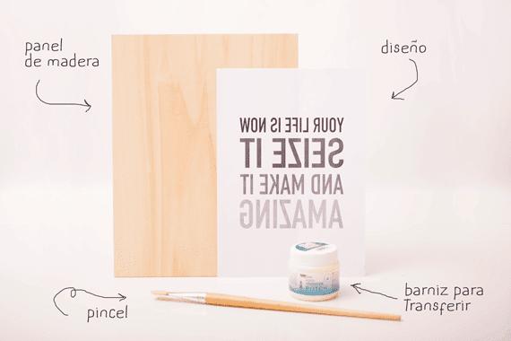 materiales cuadro tipográfico en madera