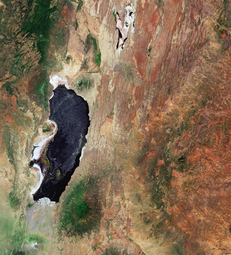 Lake Natron aerial view
