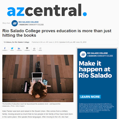 snapshot of azcentral web feature.  Image of a woman using a laptop.  Headline: Rio Salado College proves education is more than just hitting the books