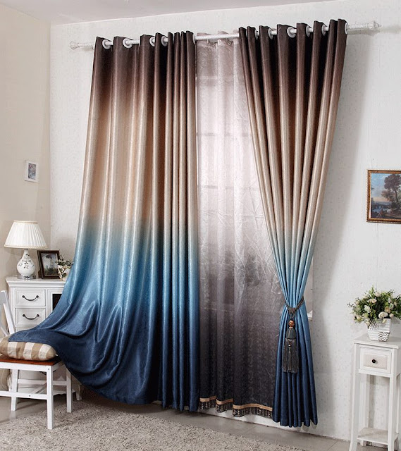 Three toned modern window curtains with tussles