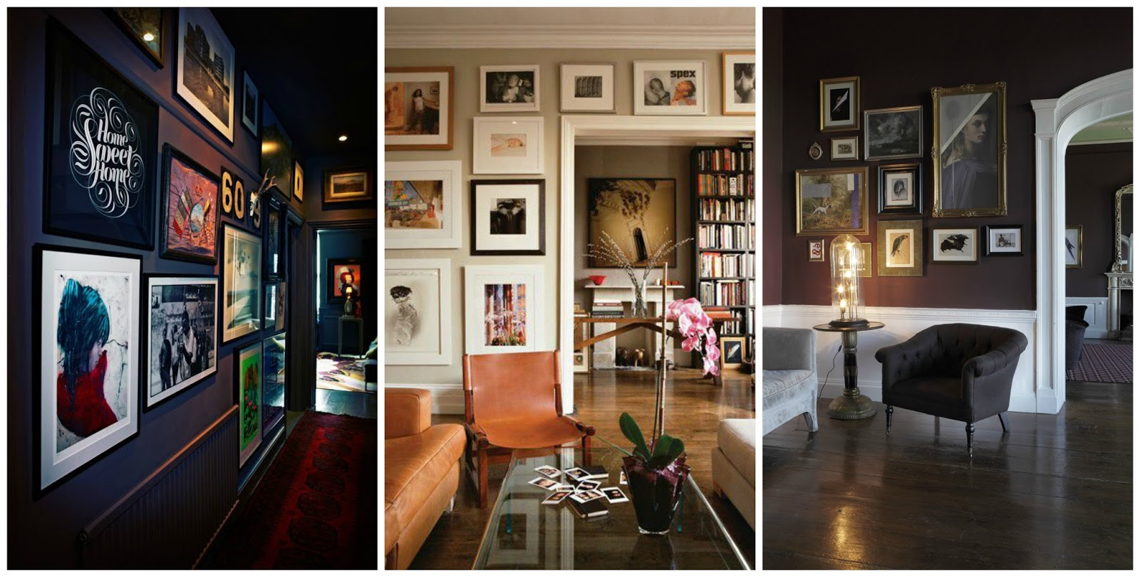 gallery work home. (Left) I Love This Gallery Wall By Abigail Ahern - Intense Colours \u0026 Captivating Images Stand Out Against The Dark Walls. (middle) Is A Nice Example Of Work Home
