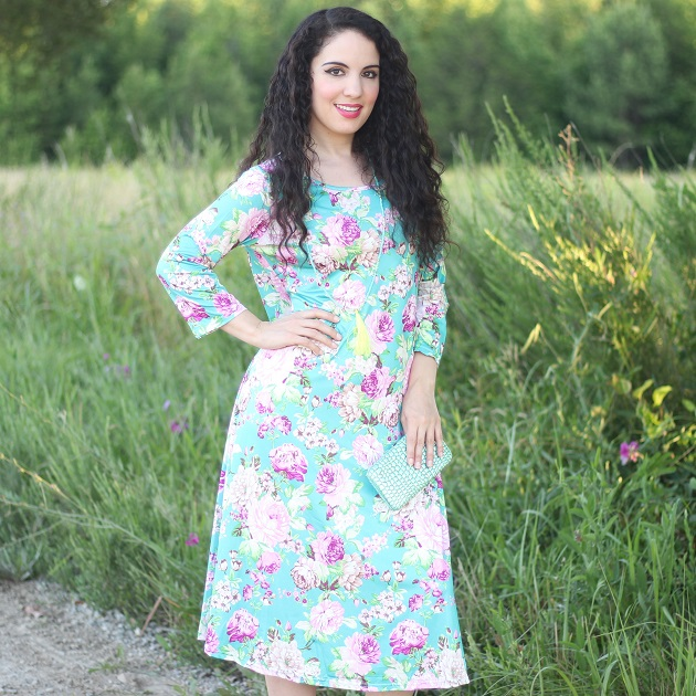 Blue Floral Print Long Sleeve Dress