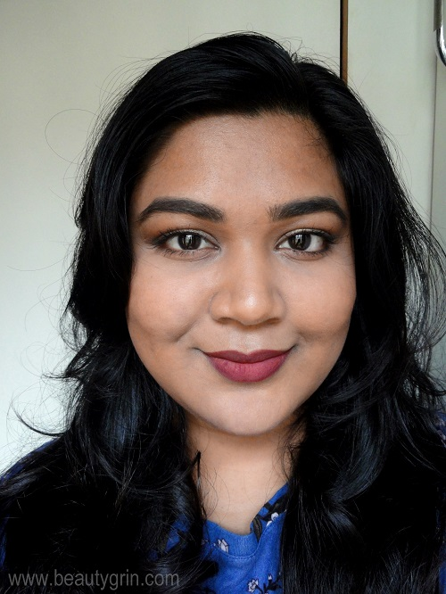 Colourpop Ultra Blotted Lip In Cherry On Top On Medium Olive Indian Skin Review Where To Buy Lip Swatches Beauty Grin