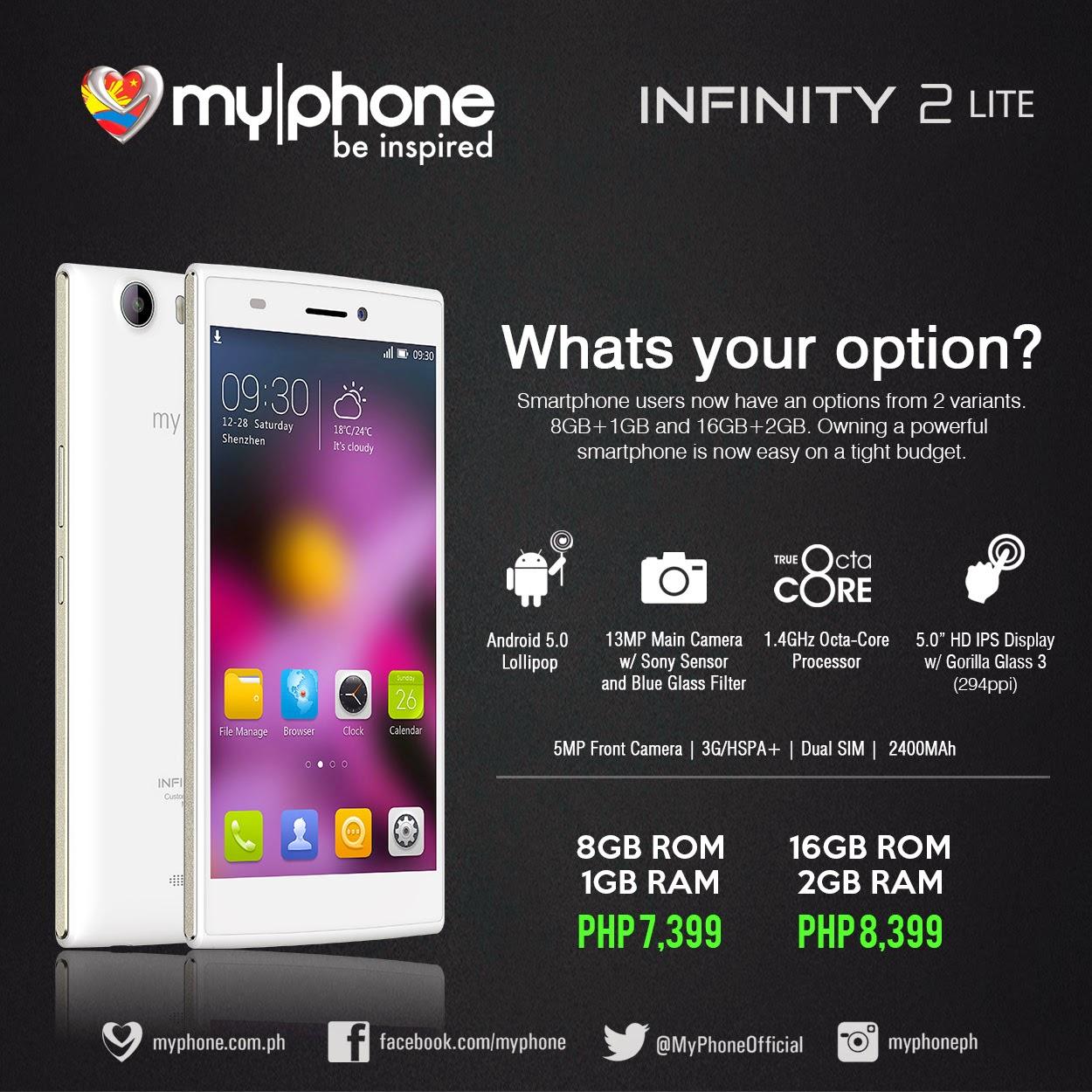 MyPhone Infinity 2 Lite now official, specs, price