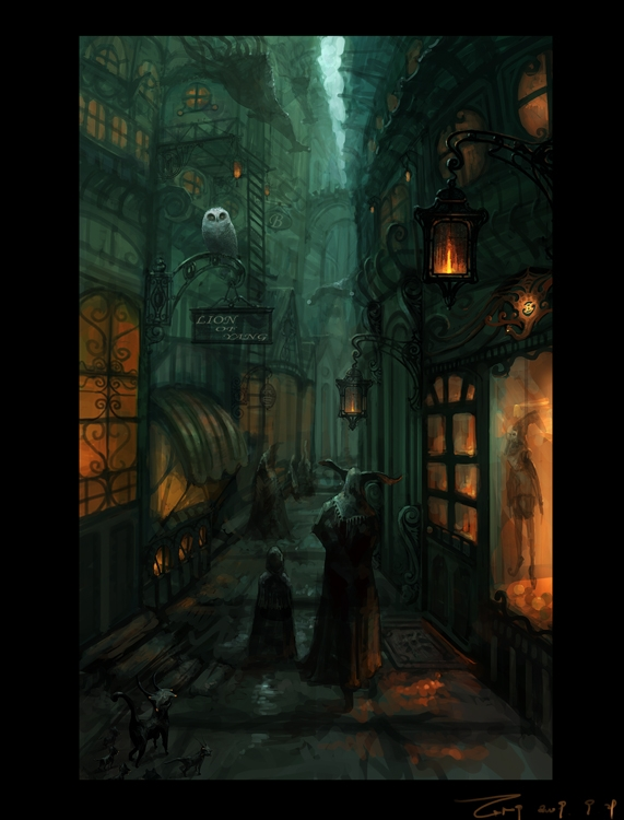 01-Street-Alley-ZERG118-Dreams-Made-of-Fantasy-Worlds-and-Creature-Illustrations-www-designstack-co