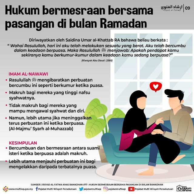 Batalkah Puasa Suami Isteri Bercium dan Berpeluk Siang Hari Ketika Berpua