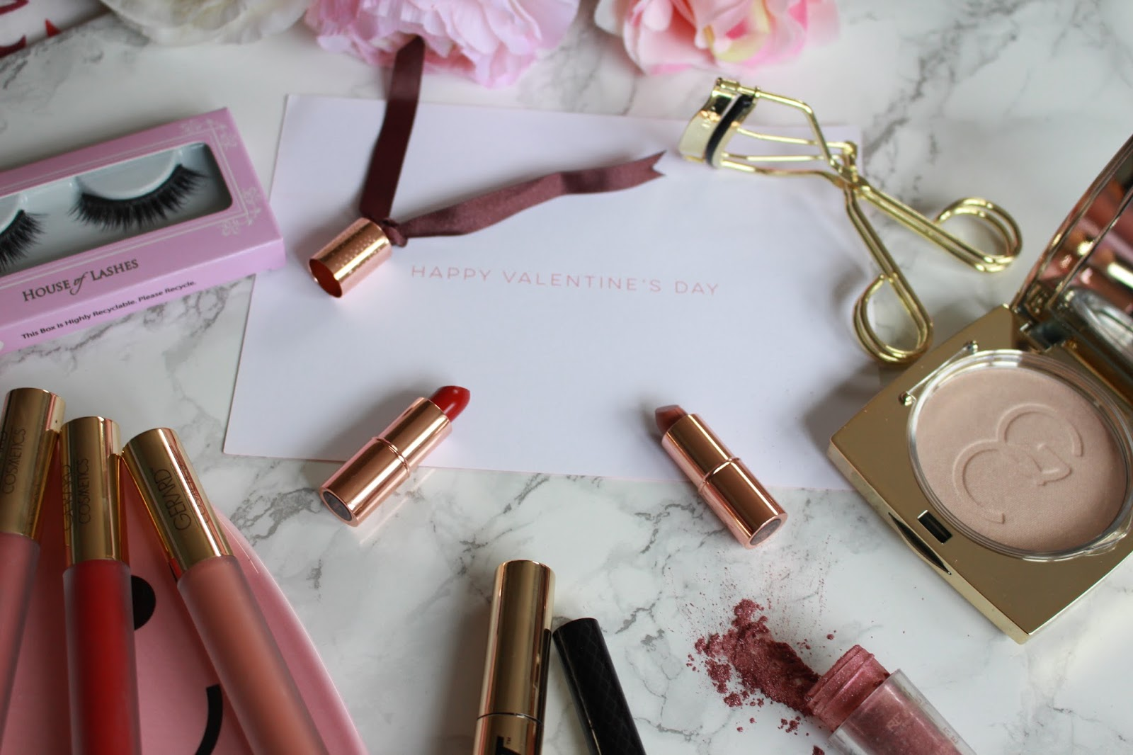 Valentines Makeup, House of lashes review, charlotte tilbury lipsticks, peony, happy valentines day, gerard cosmetics Serenity , gerard cosmetics aphrodite, make up revolution eyeshadow, valentines make up tutorial, gerard cosmetics matte, gerard cosmetics highlighter, gerard cosmetics