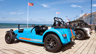 The Caterhams' lined up on the promenade at Aberystwyth