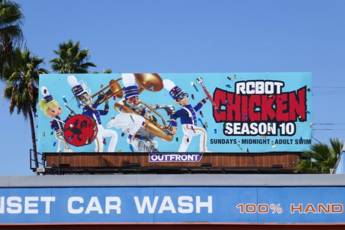 Robot Chicken season 10 ticker tape billboard