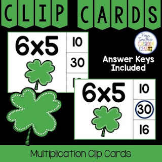 Multiplication 0 to 12 Facts Clip Cards Shamrock Themed