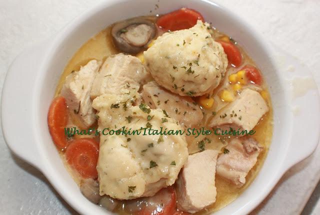 turkey dumplings recipe in a white bowl