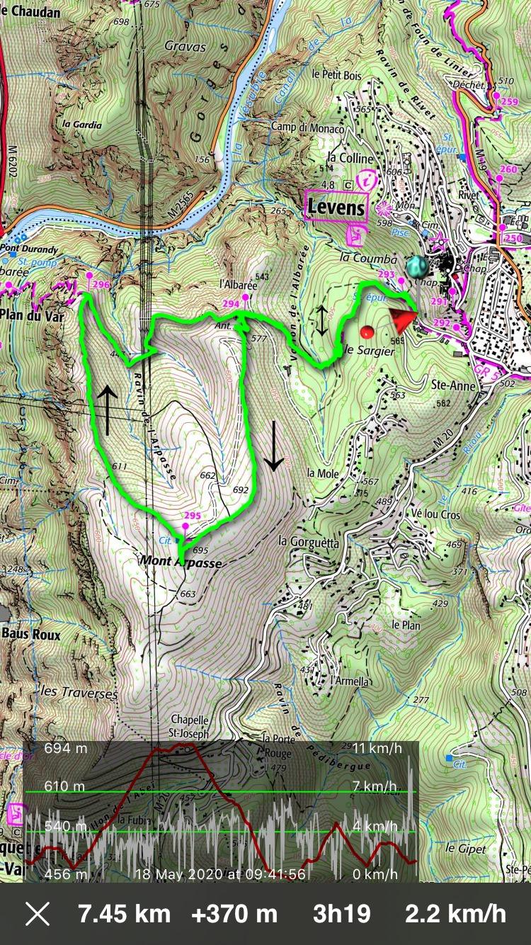 Mont Arpasse trail track