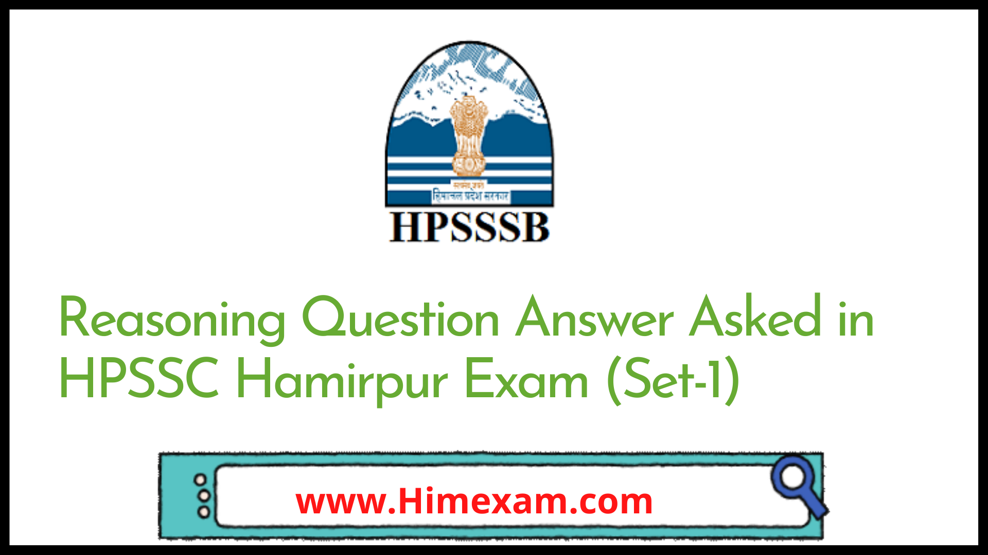 Reasoning Question Answer Asked in HPSSC Hamirpur Exam (Set-1)