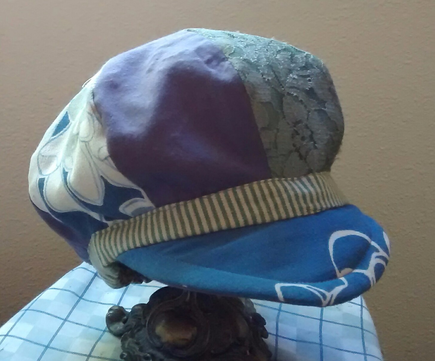 CynthiaParkhill: Blue, green and purple newsboy hat