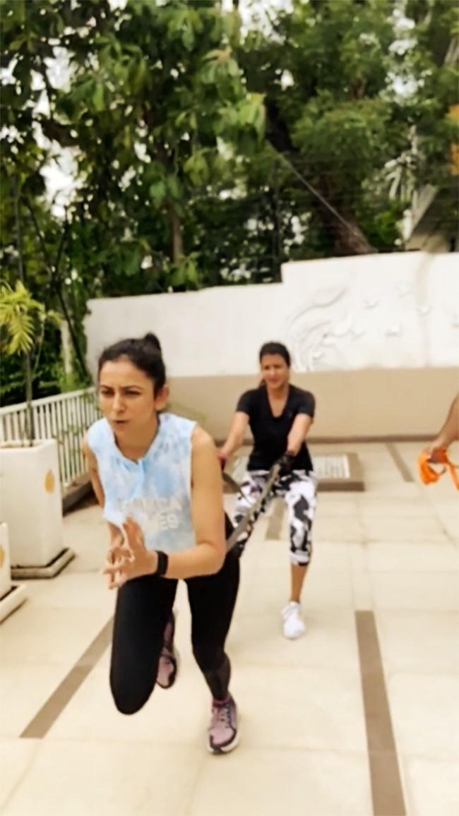 Tolly Beauty: Rakul Preet Singh And Lakshmi Enjoy Workout Session